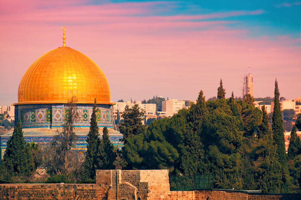 The Dome of the Rock is located at a holy site for the 3 major religions of the world