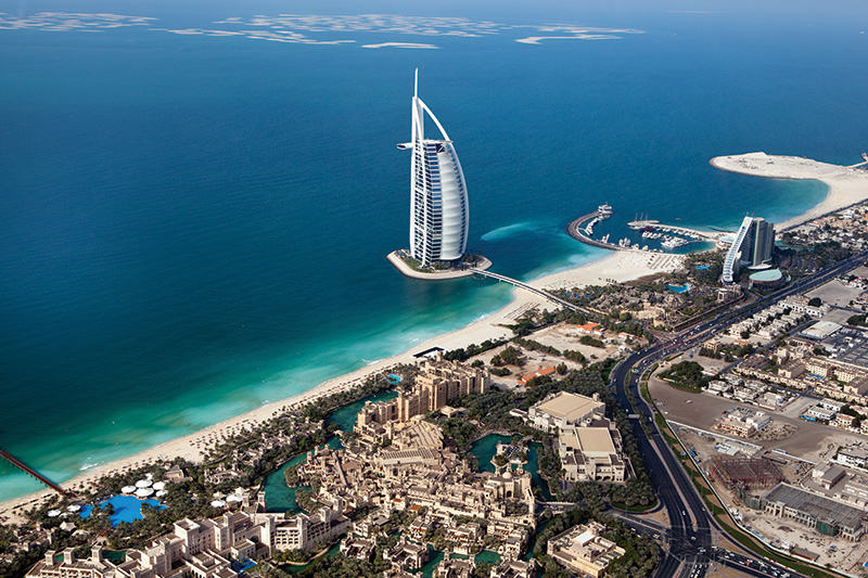 the incredible Burj Al Arab Hotel in Dubai which stands on its own island
