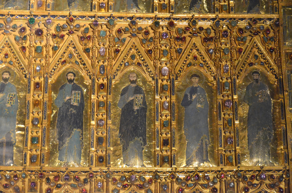 Gleaming altar piece of famous basilica in Venice, Italy