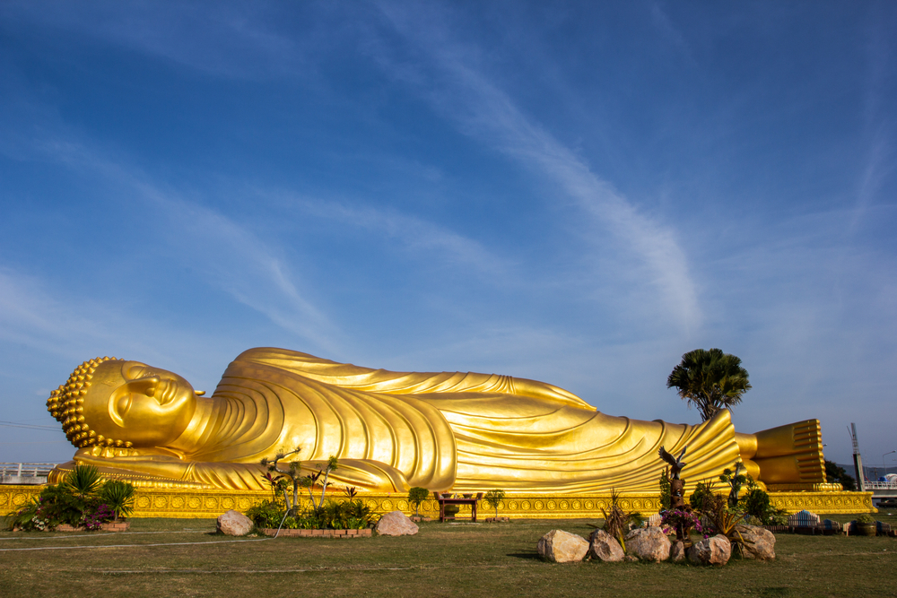 Large golden figure of a reclining Buddha at Wat Pho in Bangkok