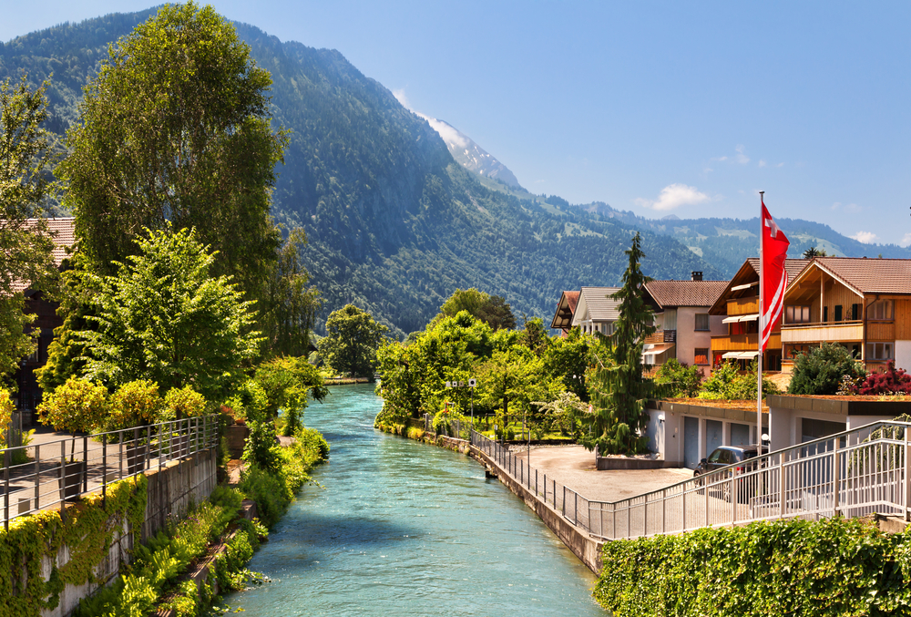 VIew of river and home in Interlaken