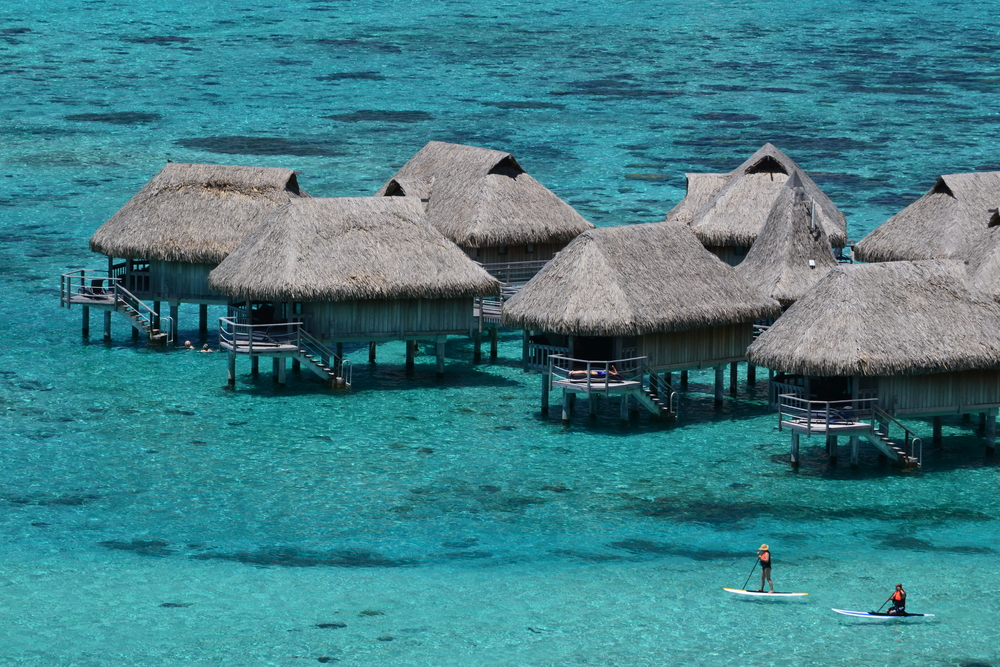 Over water bungalows in Tahiti, French Polynesia