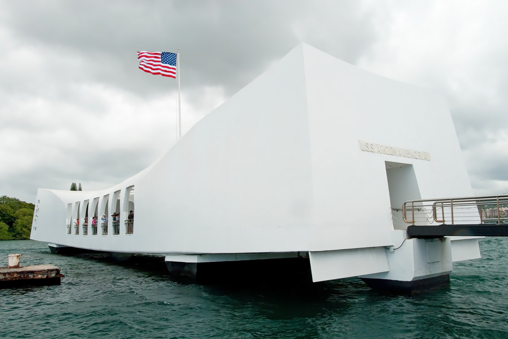 View of monument built on the site of Pearl Harbor