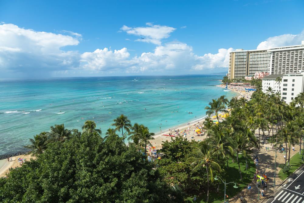 Aerial view of Waikiki Beach area