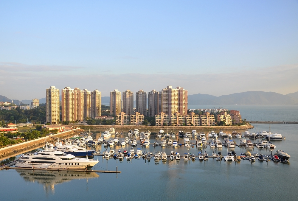 View of vessels moored in Hong Kong Harbor