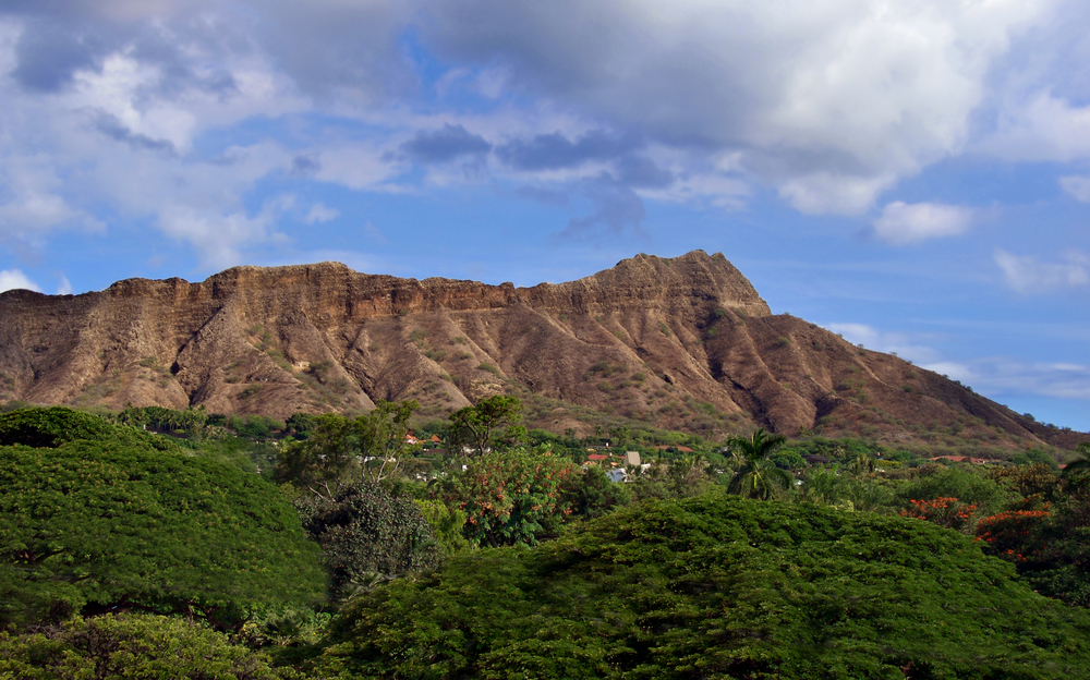 View of Diamond Head Crater in Hawaii