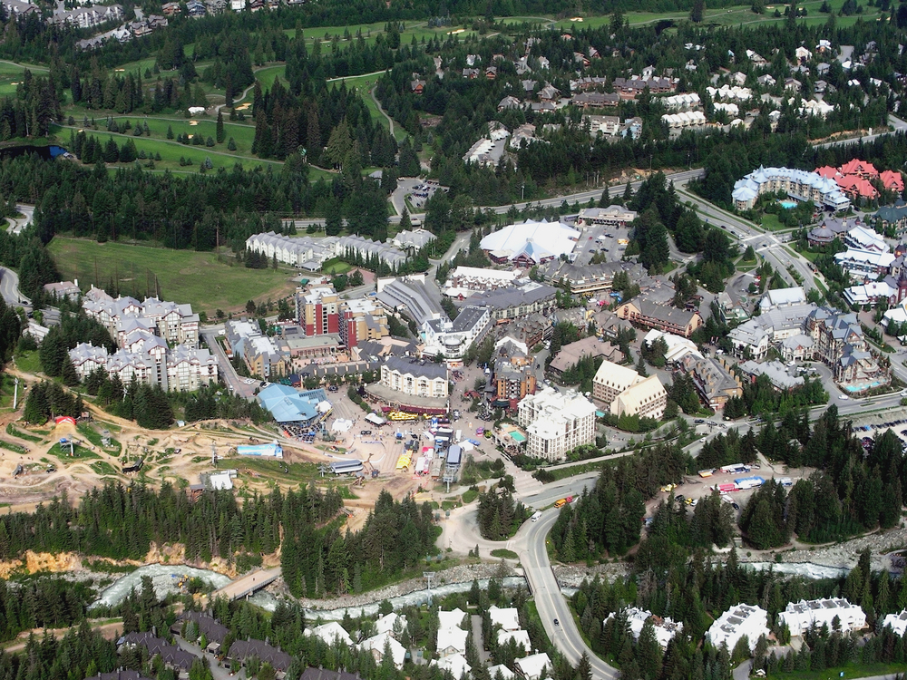 Aerial view of Whistler village in Canada