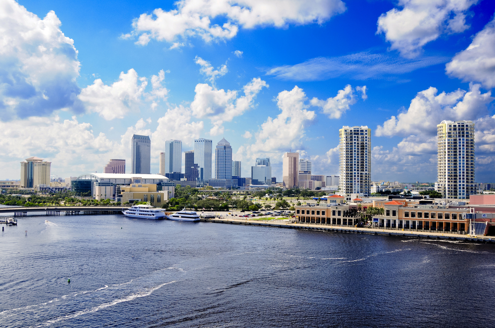 Cityscape of Tampa Florida with view of harbour