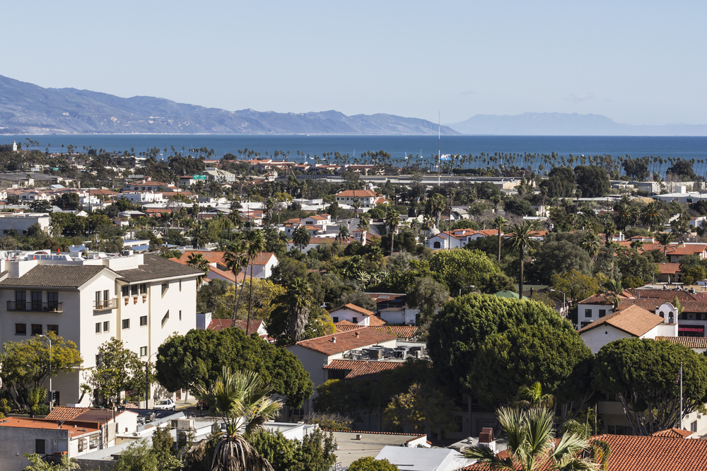 View of the city of Santa Barbara and coastline in the distance