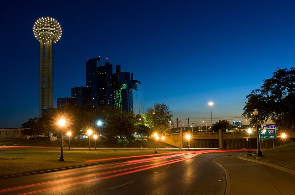 View of Reunion Tower light up at night