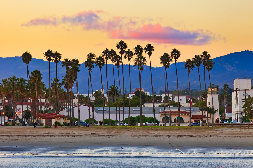 Santa Barbara beach and skyline view