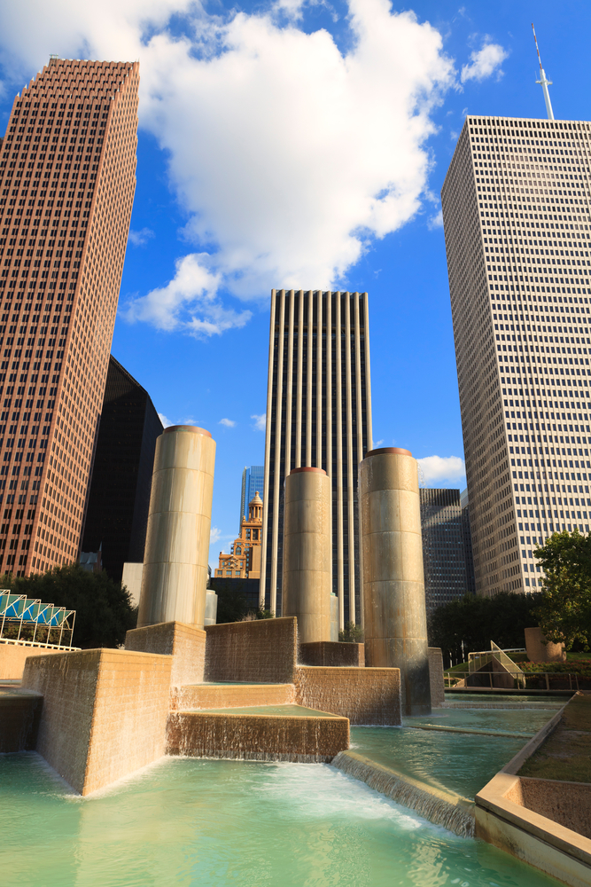 Skyscrapers and fountain in downtown Houston