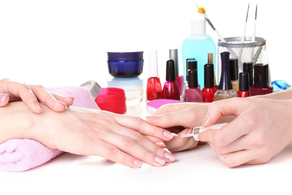 Manicure at nail salon