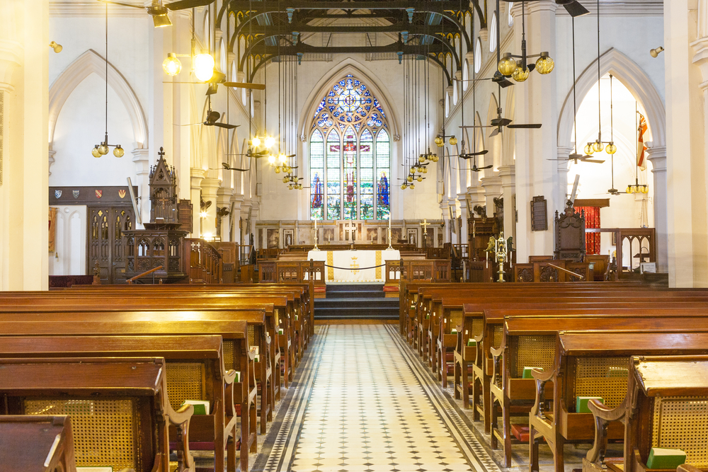 Interior of St. John's Cathedral in Hong Kong
