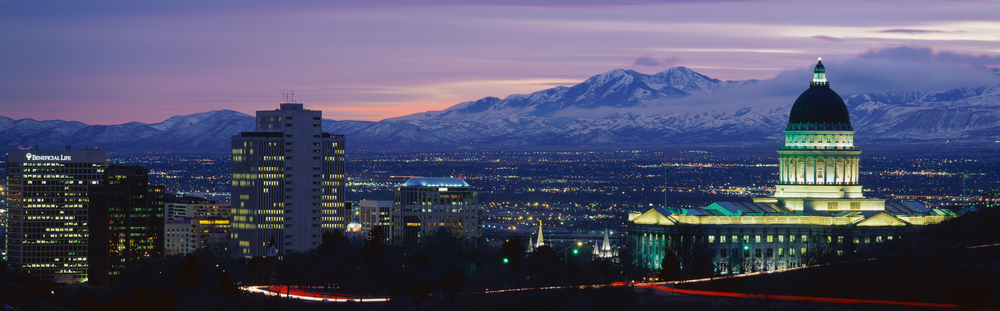 View of Salt Lake City at night