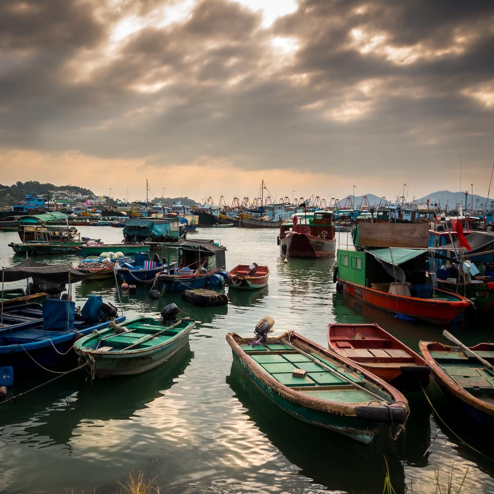 View of Sai Kung Fishing Village at magic hour