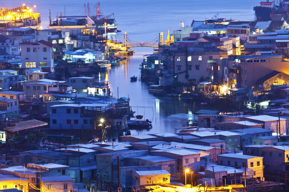 View of Tai O Fishing Village in the evening