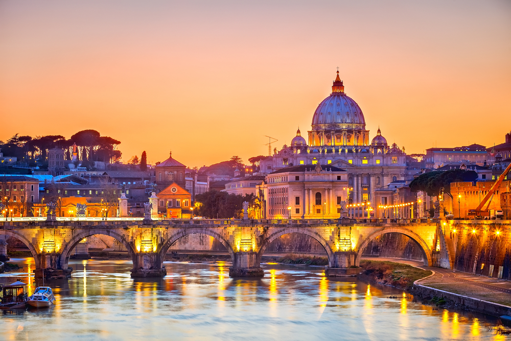Night view of St Peters Cathedral in Rome
