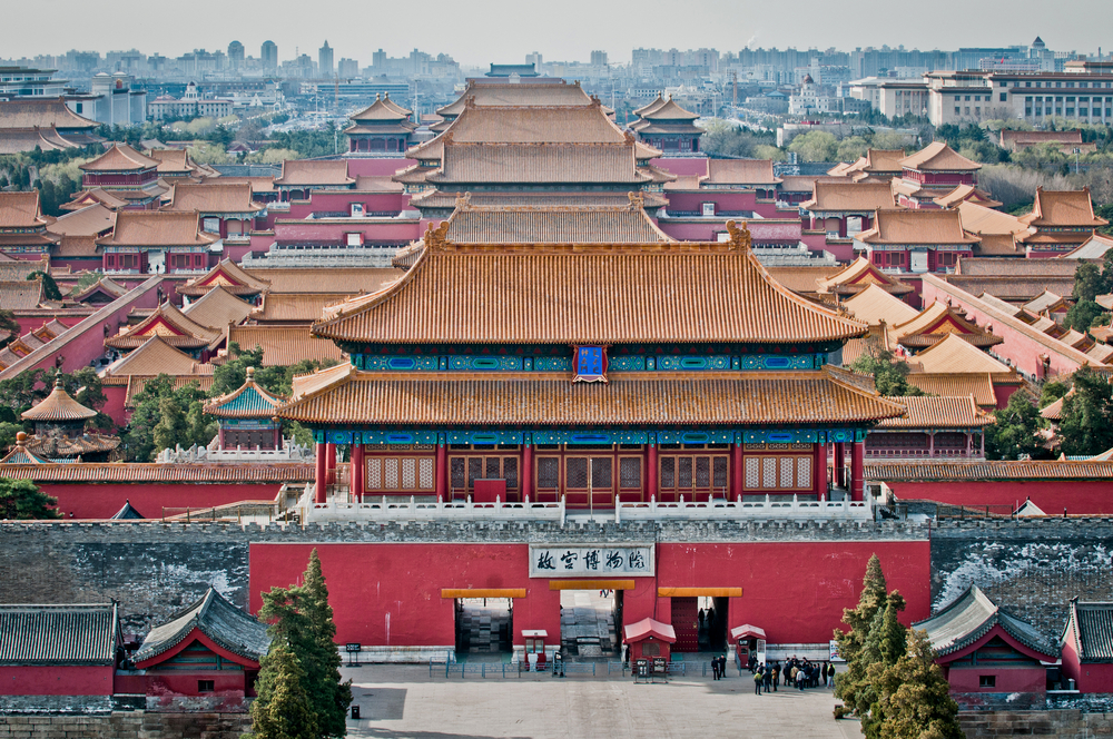 Aerial view of the Forbidden City in Beijing, China
