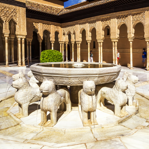 Lion fountain at The Alhambra in Grenada, Spain