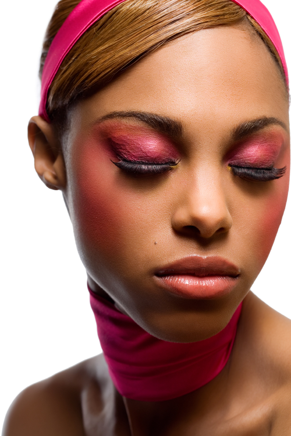 African woman with pink makeup