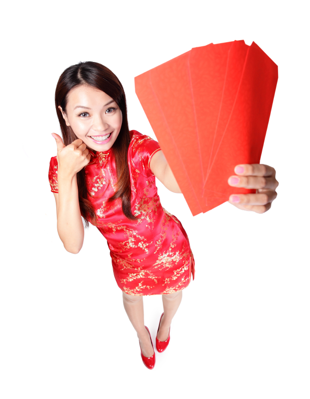 happy chinese new year. smiling woman holding red envelope, high angle view