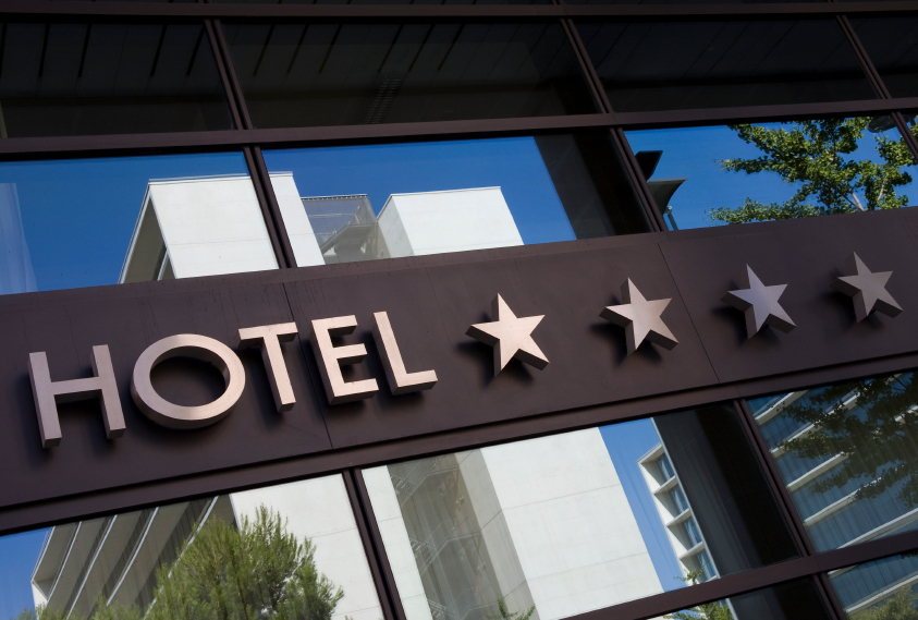 Detail of a four stars hotel with reflection