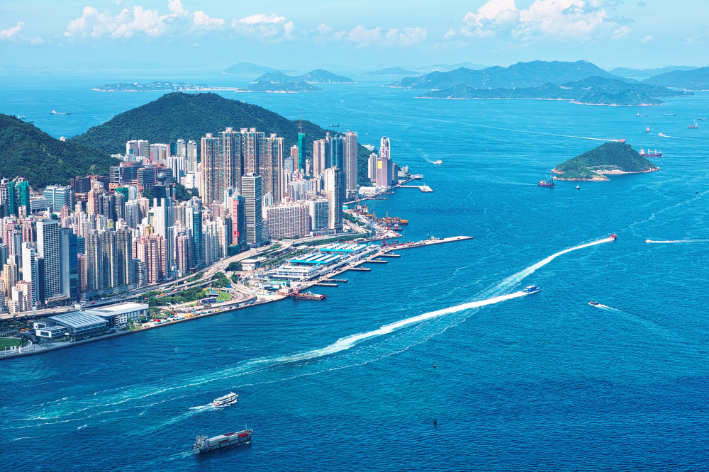 Aerial view of Hong Kong and surrounding islands
