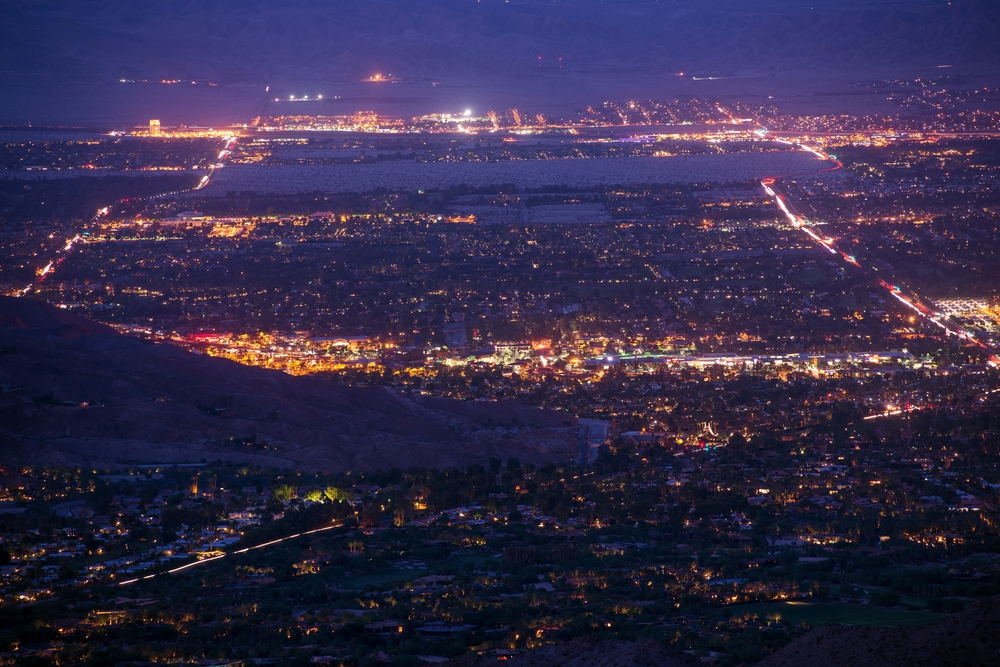 Palm Desert at night in April