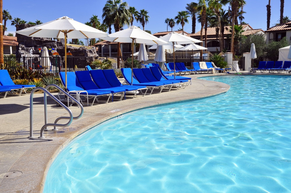 Lovely poolside lounge chairs at Palm Desert hotel