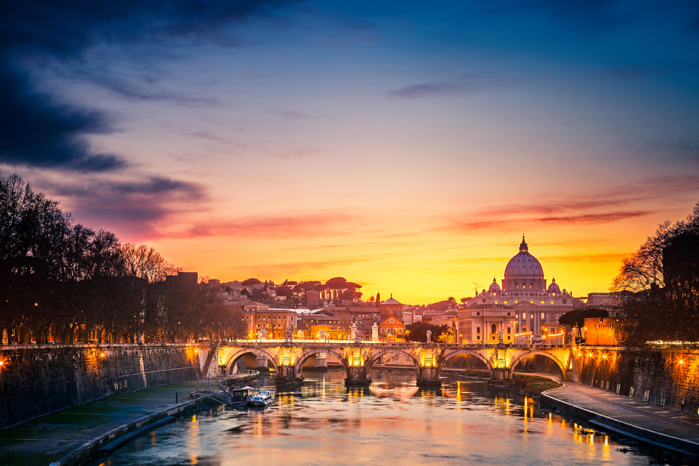 View of the St. Peter's Cathedral located in Rome, Italy