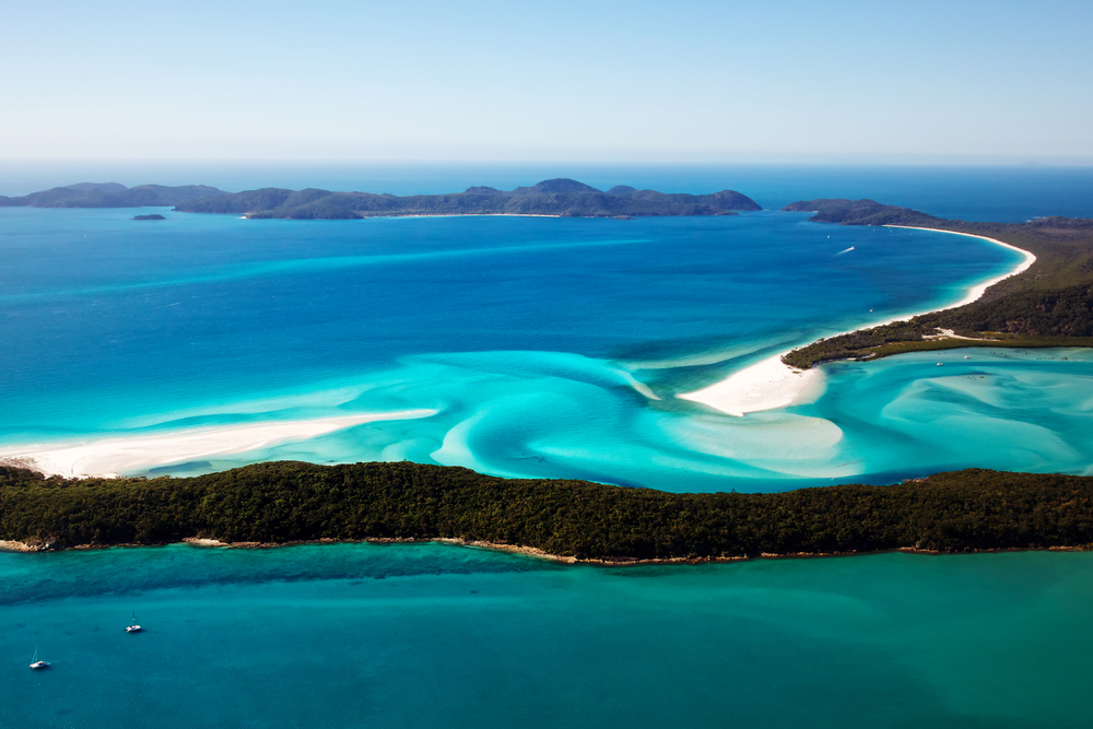 Aerial view of the Whitehaven Beach, Whitsunday Islands