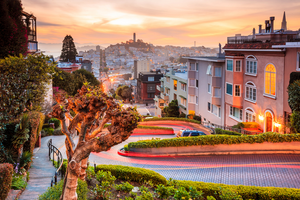 Sunrise views of the Lombard Street, San Francisco.
