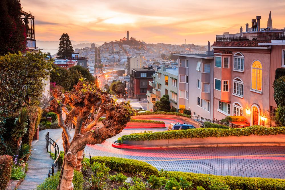 Sunrise views of the Lombard Street, San Francisco.