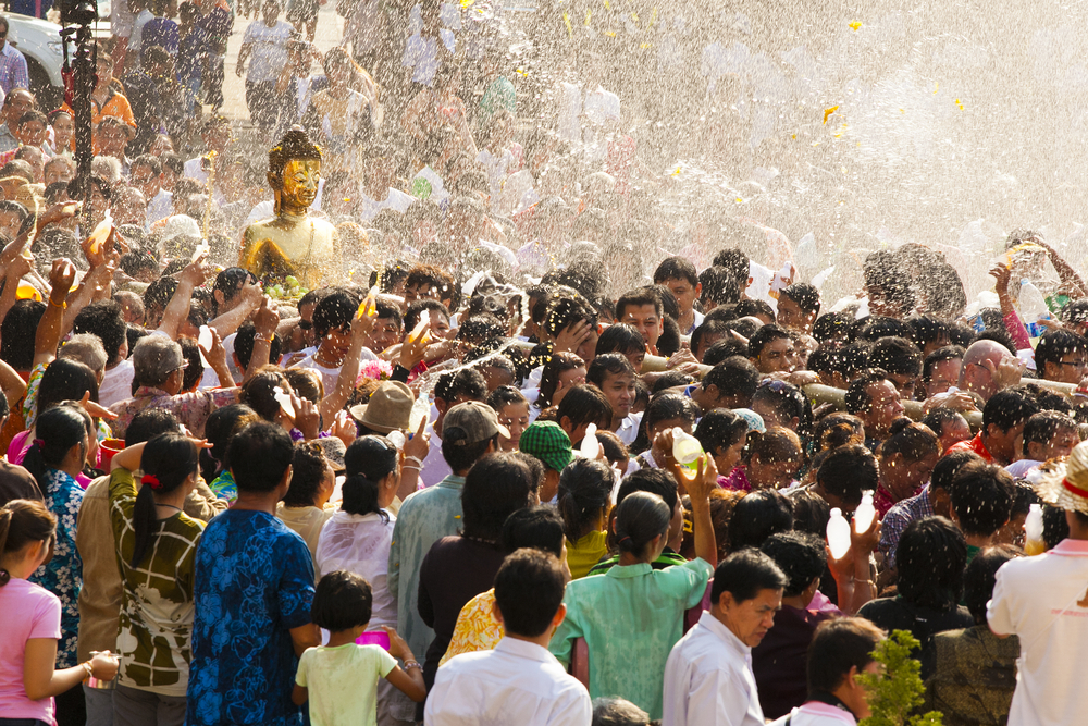 People celebrating the Songkran Water Festival in Thailand.