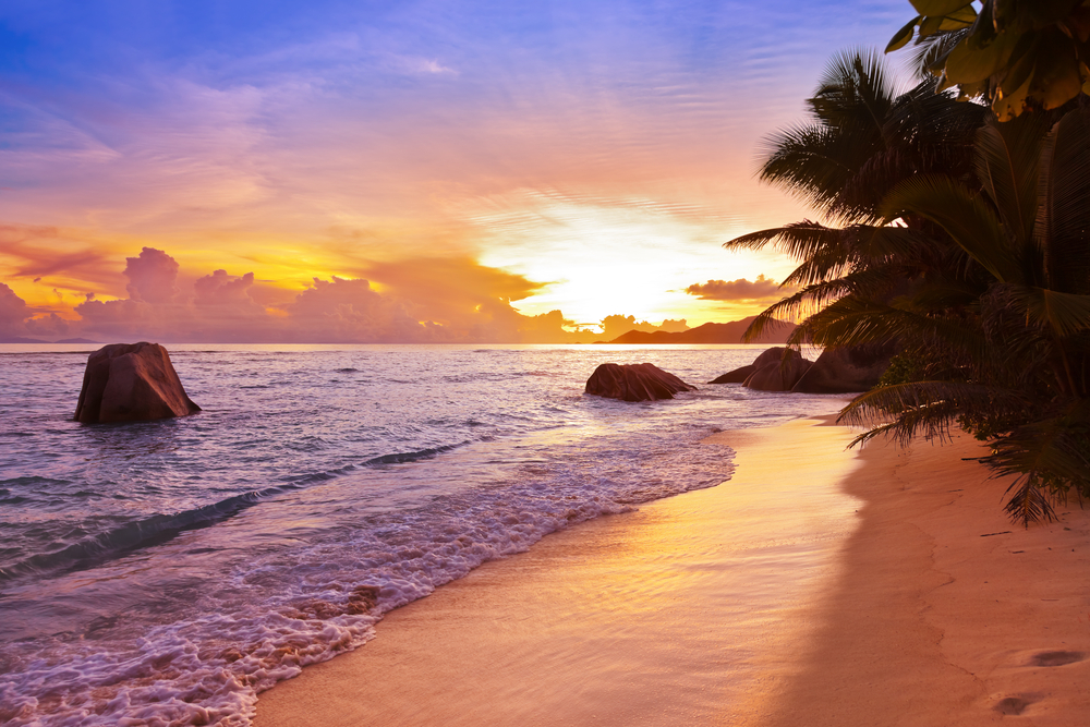 Beautiful sunset views in a tropical beach in Seychelles
