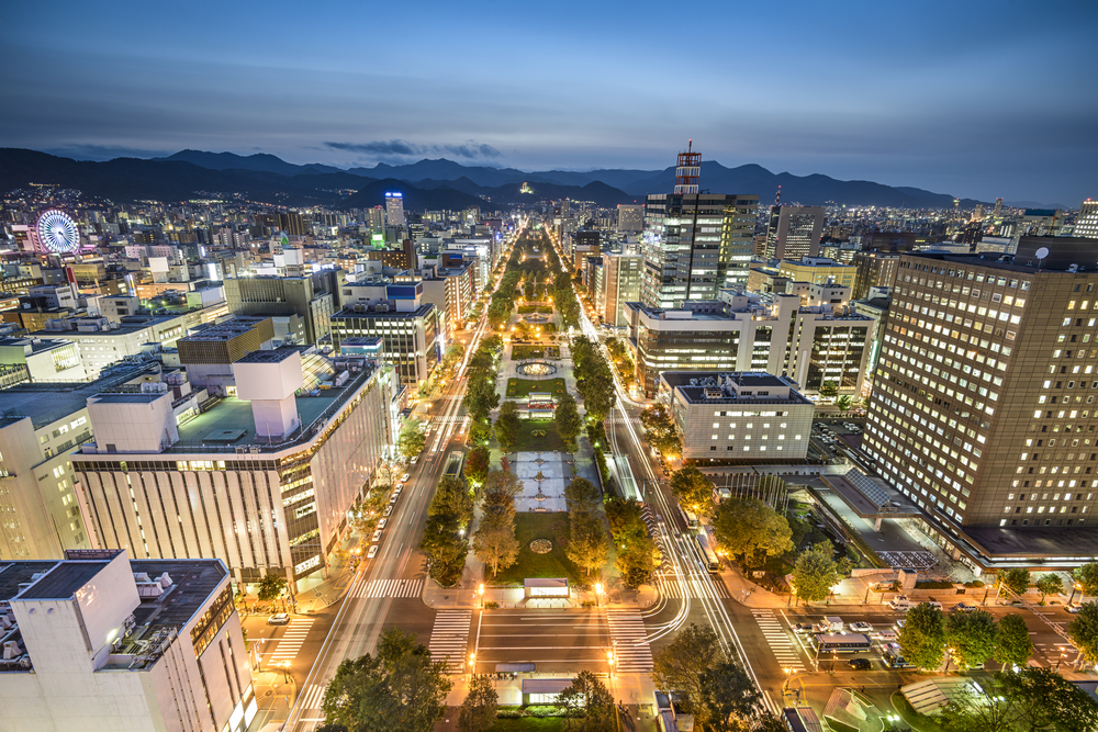 View of the city skyline in Sapporo, Japan.