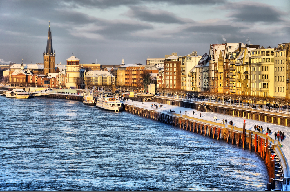 Beautiful views of the Rhine River in Dusseldorf Germany