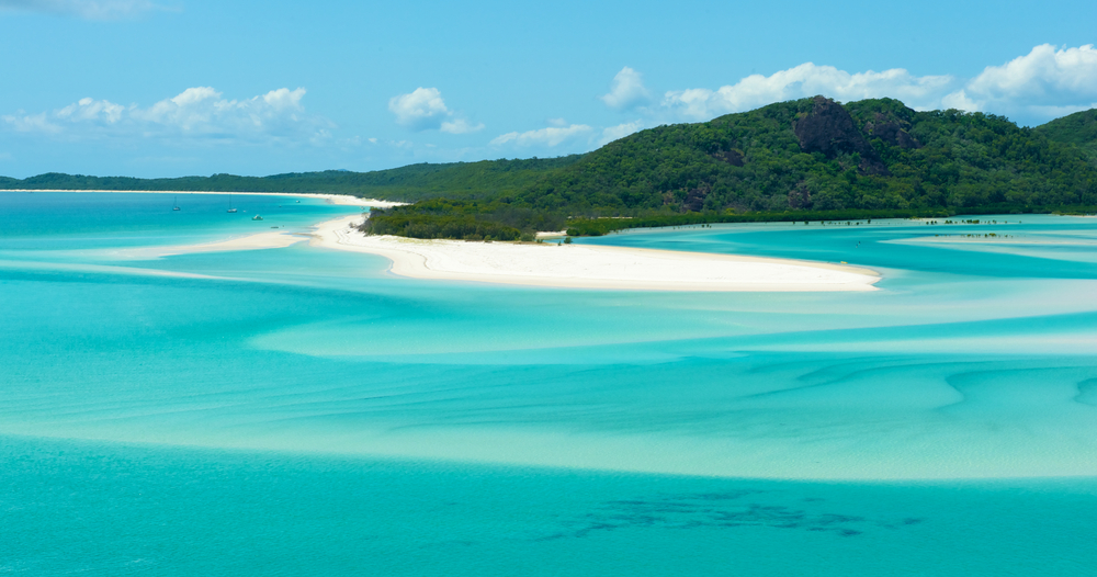 Breathtaking views the Whitehaven Beach in Whitsunday Island, Australia.