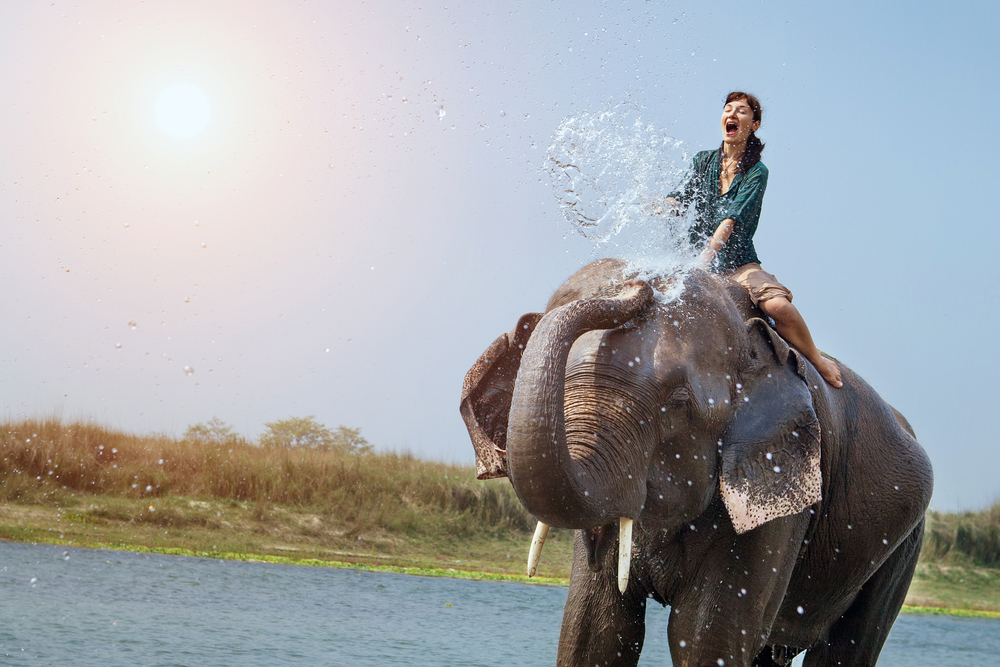 Elephant spraying water on a woman.