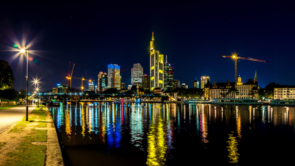 Fantastic views of the Frankfurt skyline at night.