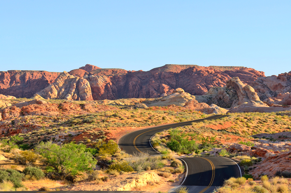 Road running through the Nevada landscape.