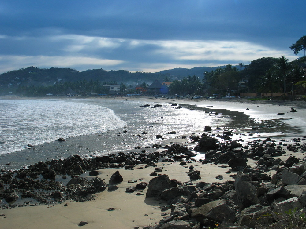 Early morning views of a tropical beach in Sayulita, Mexico