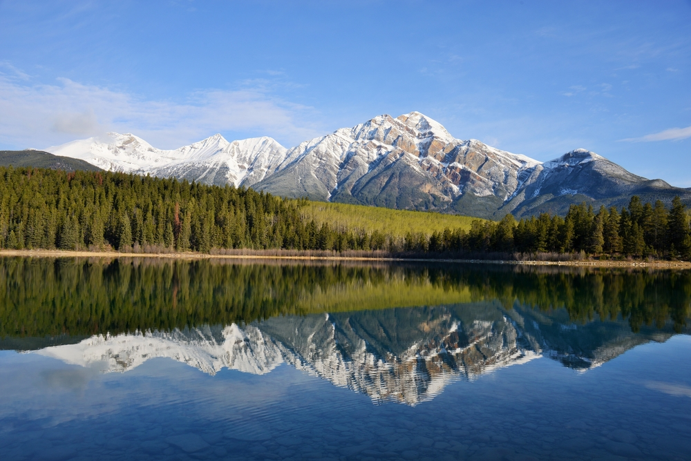 Reflection of the Pyramid Mountain in the Pyramid Lake, Jasper National Park.
