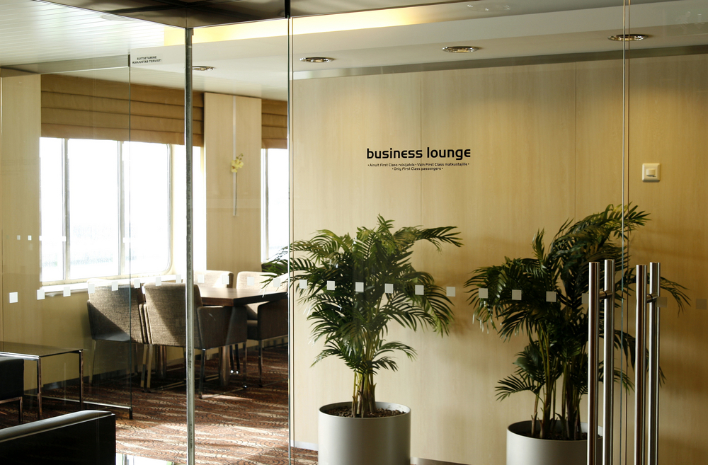 A business lounge at an airport.