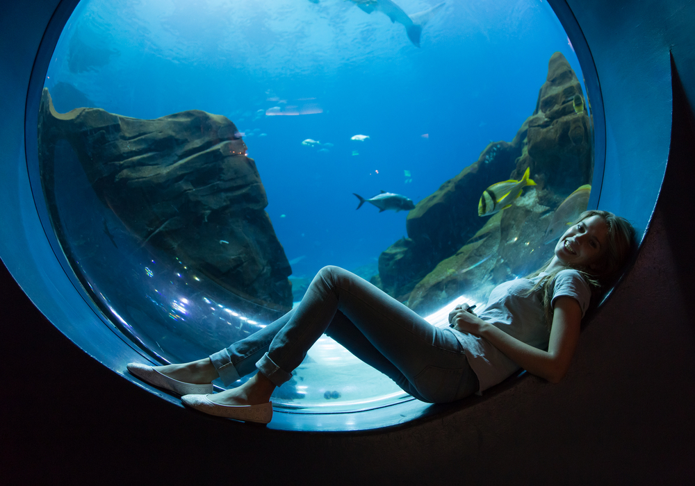 Woman in an aquarium