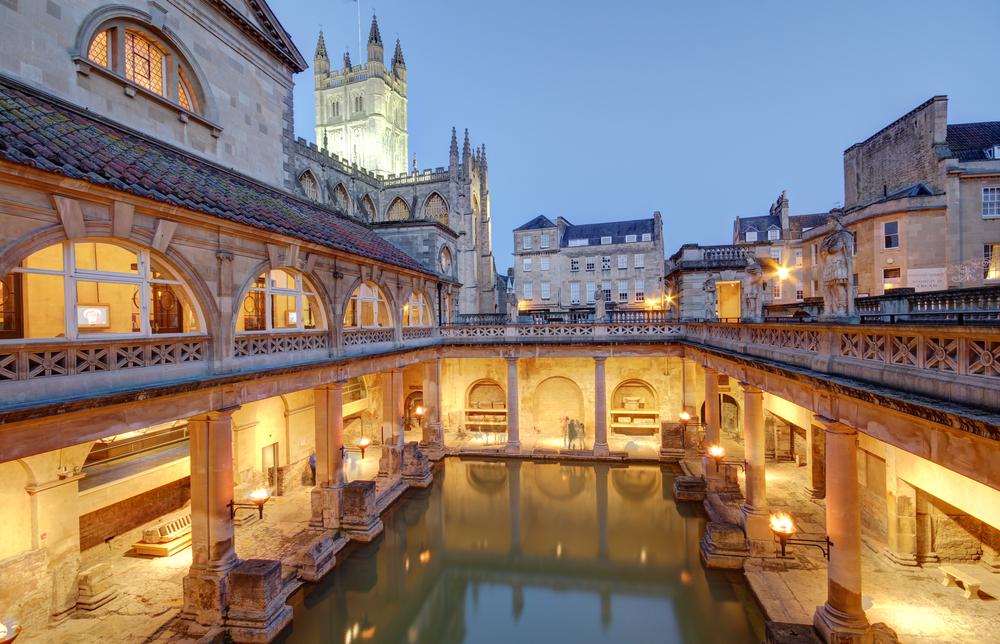 Ancient Roman baths in Bath, England.
