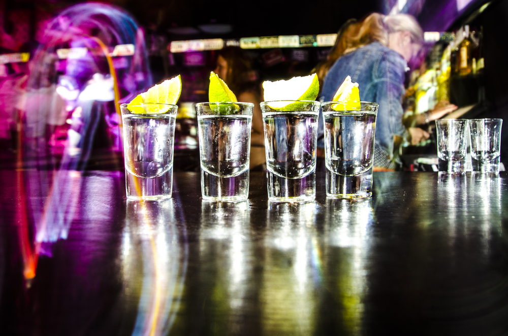Shot glasses in a night club.