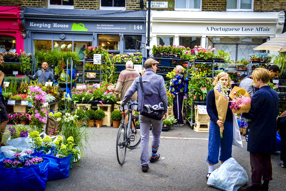 London, England - August 17, 2014: store in Columbia Road plants and flowers market of London