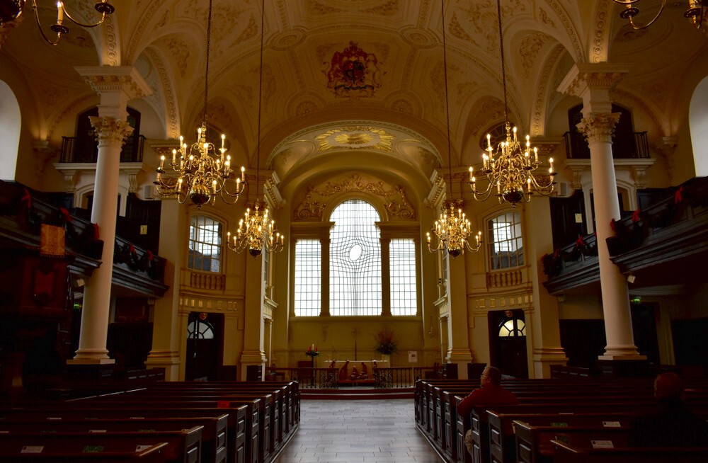London, United Kingdom, January 2019. St Martin in the Fields church interior and East Window designed by Shirazeh Houshiary.